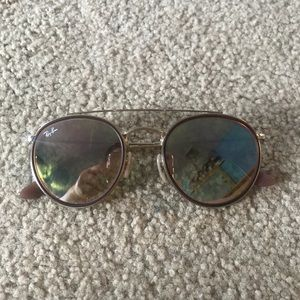 GOLD/BROWN DOUBLE RIMMED RAYBANS